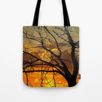 jewish Tote Bags featuring Sunset Tree by Brown Eyed Lady