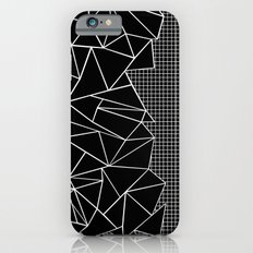 Abstract Grid Outline White on Black on Side iPhone 6 Slim Case