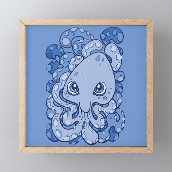 Happy Octopus Squid Kraken Cthulhu Sea Creature , Baby Blue Framed Mini Art  Print by bignoseart