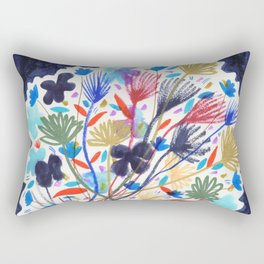 Colorful Flowers Still Life Drawing Rectangular Pillow