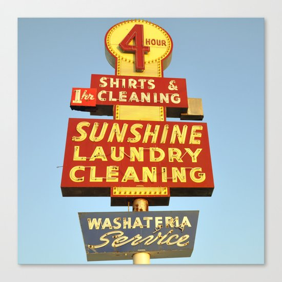 Sunshine Laundry Cleaning (Square) Canvas Print