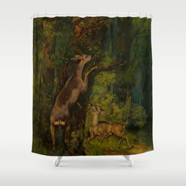 "Gustave Courbet ""Deer in the Forest"" Shower Curtain"