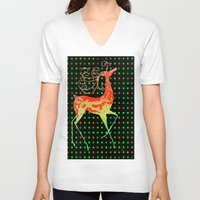 reindeer V-neck T-shirts featuring Reindeer by Saundra Myles