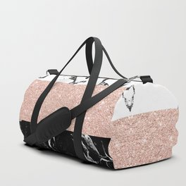 Modern black white marble rose gold color block stripes pattern Duffle Bag