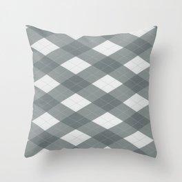 PPG Night Watch Pewter Green Argyle, Plaid Diamond Pattern Throw Pillow