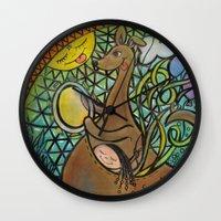 kangaroo Wall Clocks featuring kangaroo by Valerie Parisius