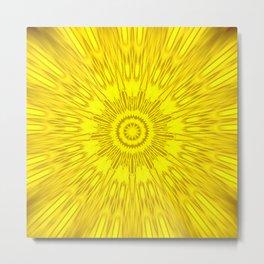 Yellow Mandala Explosion Metal Print
