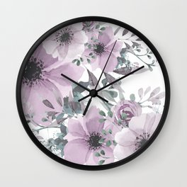 Abstract Watercolor, Purple and Gray, Floral Watercolor Wall Clock