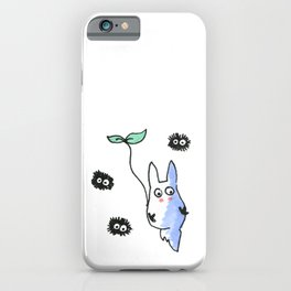 Flying totoro and dust bunnies iPhone Case