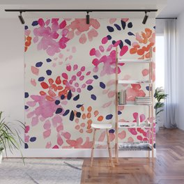 Flower abstract, watercolor floral pattern Wall Mural
