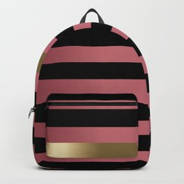 Rose Gold and Black Stripes and Gold Metallic Backpack