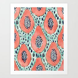 PAPAYA PARTY Tropical Fruit Print Art Print