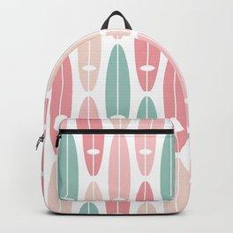 Vintage Surf Boards in Pastel Pink Backpack