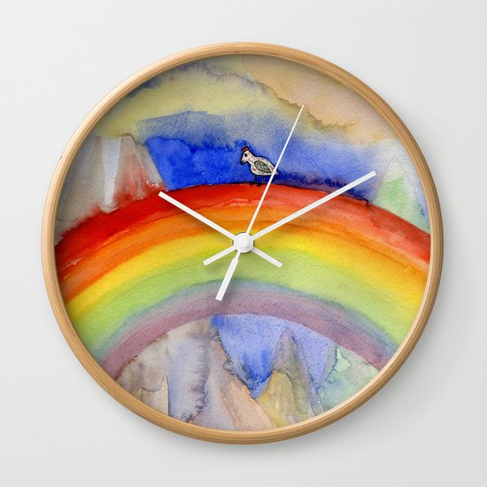the chicken who wanted to be on the top of the rainbow Wall Clock