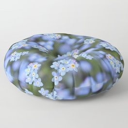 Dainty Blue Forget me Not Flowers  Floor Pillow