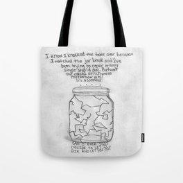 Grayscale Broken Jar Tote Bag