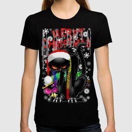Evil Black Cat VS Christmas Tree T-shirt