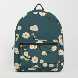 Cherry Blossoms on Blue Background Backpack