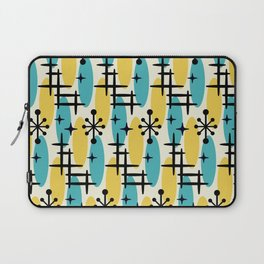Retro Mid Century Modern Cosmic Surfer Pattern 231 Turquoise and Yellow Laptop Sleeve