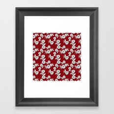 Retro roses on a red background . Framed Art Print