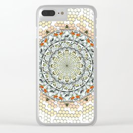 Overlapping Bee Mandala (Color) Clear iPhone Case