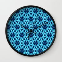 knitting Wall Clocks featuring blue Knitting by clemm