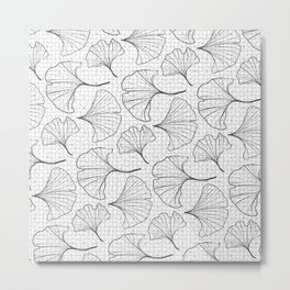 grid in black and petals Metal Print