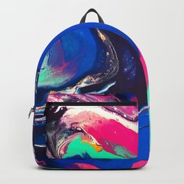 7 Layers of Midnight Acrylic Pour Backpack