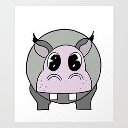 Happy Hippo drawing Art Print
