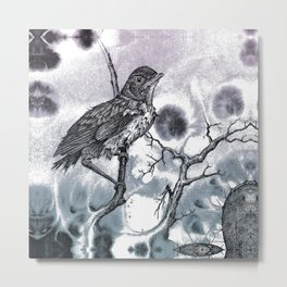 Baby Robin in Mixed Media Metal Print