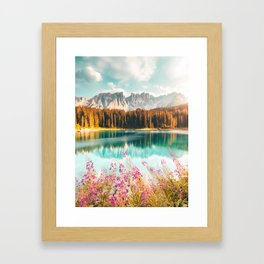 Stunning Italian Lake - Lago Di Carezza Framed Art Print