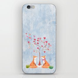 Fox love- foxes animal nature _ Watercolor illustration iPhone Skin