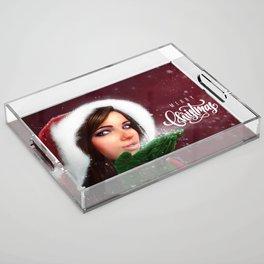Lady Christmas Acrylic Tray