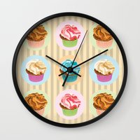 cupcakes Wall Clocks featuring Cupcakes by Xiao Twins