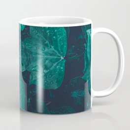 Dark emerald green ivy leaves water drops Coffee Mug