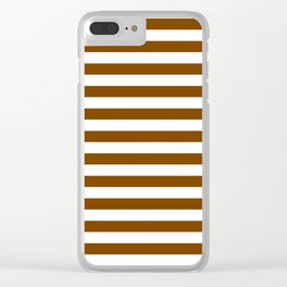 Narrow Horizontal Stripes - White and Chocolate Brown Clear iPhone Case