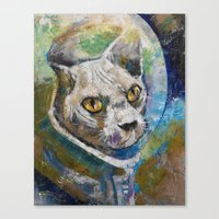 space cat Canvas Prints featuring Space Cat by Michael Creese