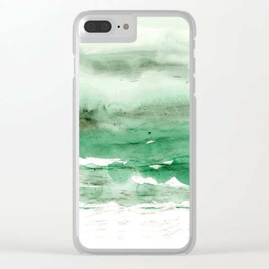 green & grey Clear iPhone Case