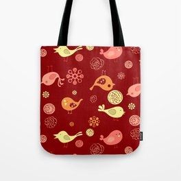 Birds on red Tote Bag
