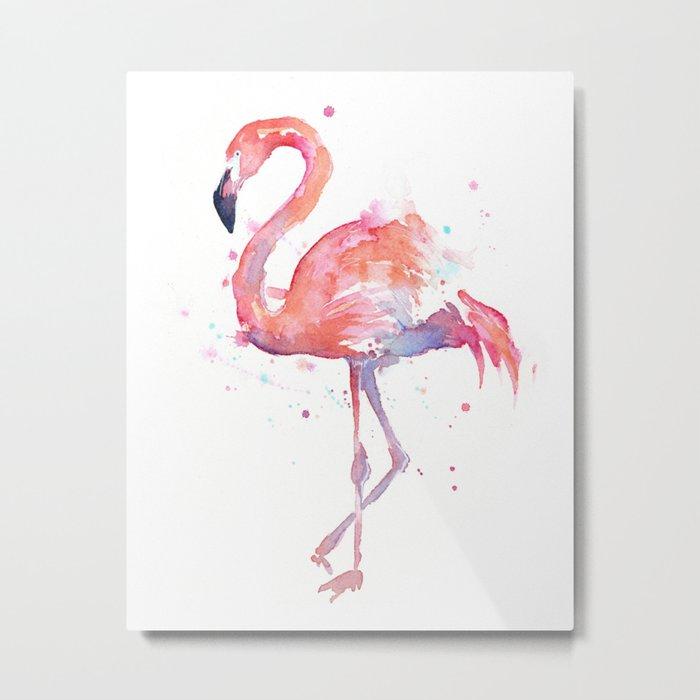 Flamingo Watercolor Metal Print