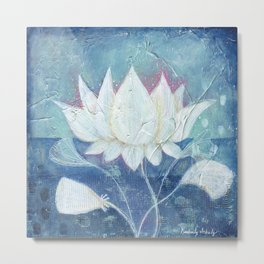 Abstract Lotus Art Acrylic Painting Reproduction by Kimberly Schulz Metal Print