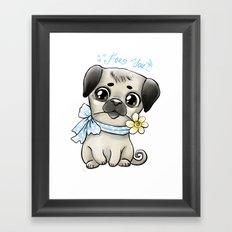 Pug and flower Framed Art Print