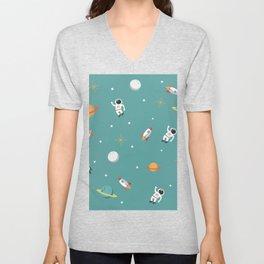 Space Pattern Illustration with Cyan Background Unisex V-Neck