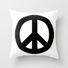 Black on White CND Peace Symbol Throw Pillow