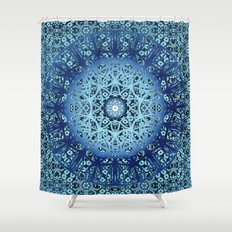 Blue Nouveau Mandala Shower Curtain