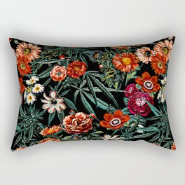 Marijuana and Floral Pattern Rectangular Pillow