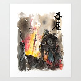 Dark Souls Bonfire with a Warrior Japanese calligraphy Art Print
