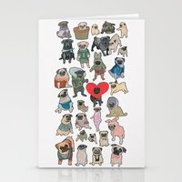 pugs Stationery Cards featuring Pugs by Yuliya