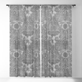 Gothic Halloween Damask - grayscale  Sheer Curtain