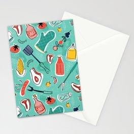 Backyard BBQ Aqua Stationery Cards